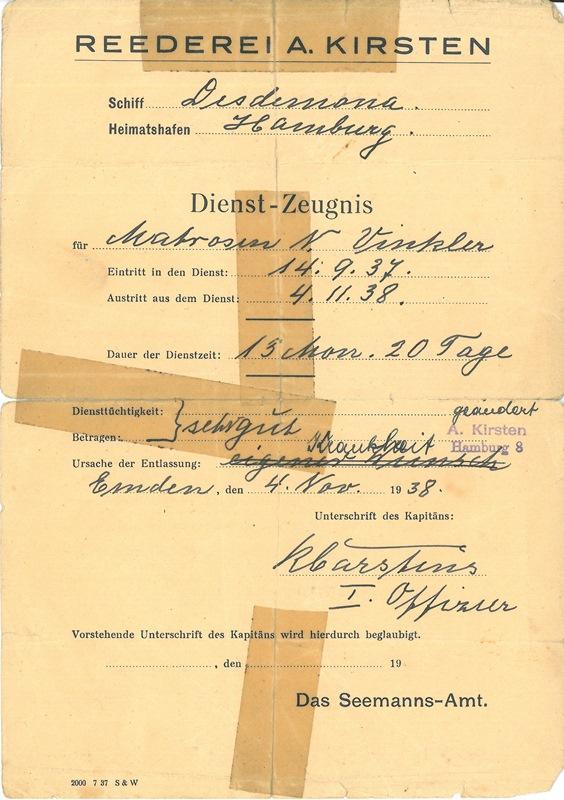 Nikolaus (N.) Vinkler aus Riga - Seemann