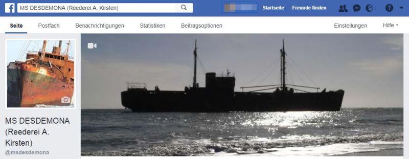 Facebook Seite MS Desdemona